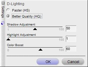 Capture NX D-Lighting HQ Options