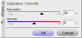 Saturation and warmth settings