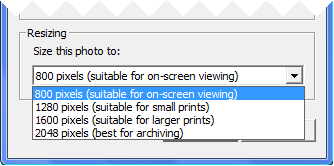 Flickr Uploader Resize Options