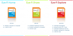 Available Eye-Fi products