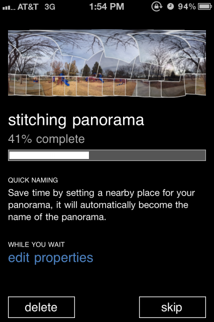 iPhone sreenshot showing Photosynth stitching photos