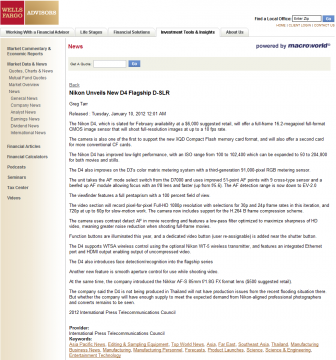Nikon D4 leaked on Wells Fargo Advisors website