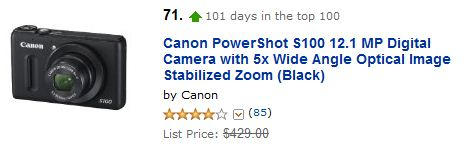 Canon PowerShot S100 Amazon ranking